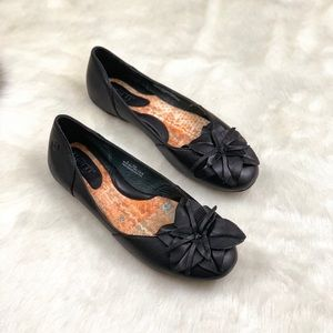 Born Peony Leather Ballet Flat Shoes Floral Black